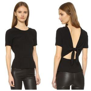 A.L.C. Karyn Tie Back Peplum Top in Black